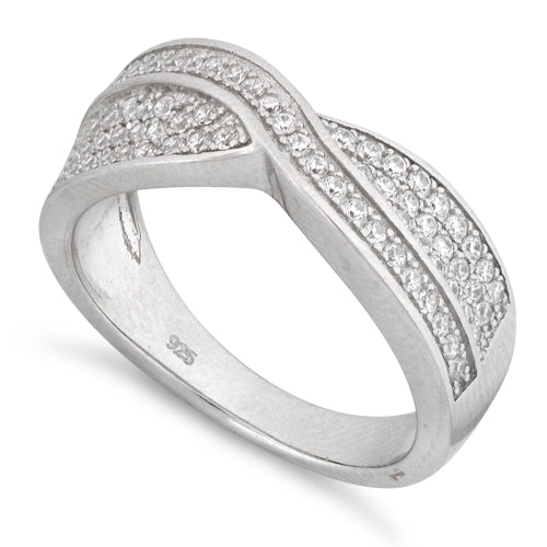 Sterling Silver Crossroad Pave CZ Ring