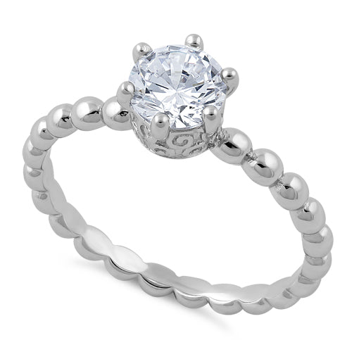 Sterling Silver Crown Beaded Clear CZ Ring