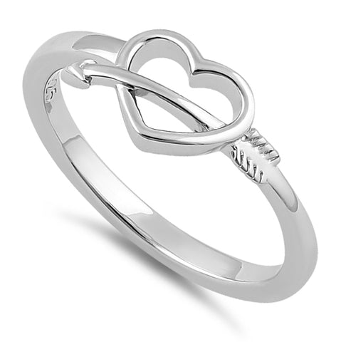 Sterling Silver Cupid's Arrow Heart Ring