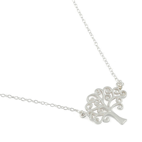 Sterling Silver Curly Hearted Tree of Life Necklace
