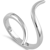 Sterling Silver Curved Line Ring