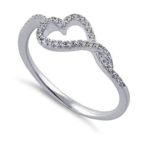 Sterling Silver Curvy Heart CZ Ring