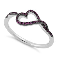 Sterling Silver Curvy Heart Ruby CZ Ring