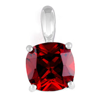 Sterling Silver Cushion Cut Garnet CZ Pendant