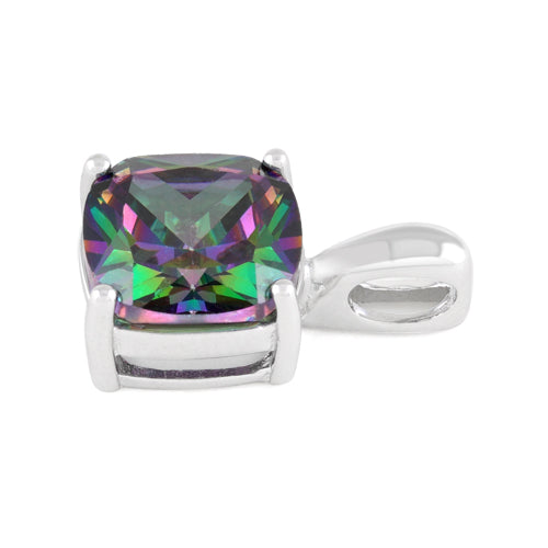 Sterling Silver Cushion Cut Rainbow Topaz CZ Pendant