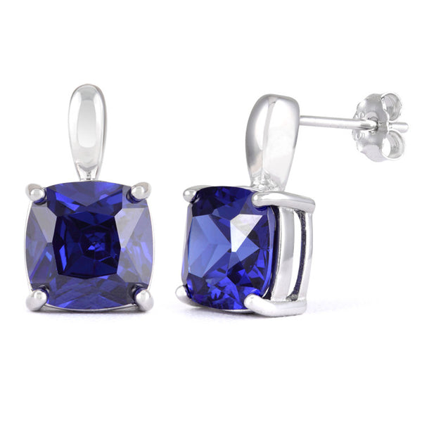 Sterling Silver Cushion Cut Tanzanite CZ Earrings