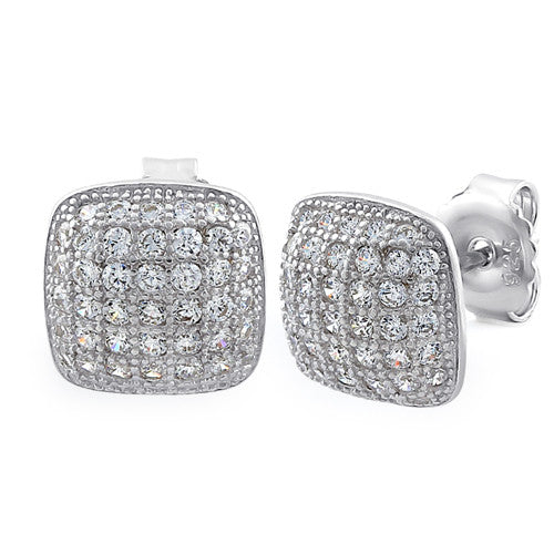 Sterling Silver Cushion CZ Earrings
