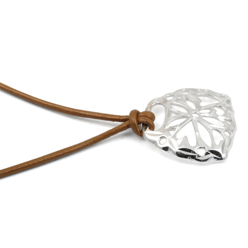 Sterling Silver Diamond Cut Flower with Brown Leather Cord 16