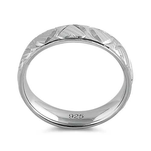 Sterling Silver Diamond Cut Heart Band Ring