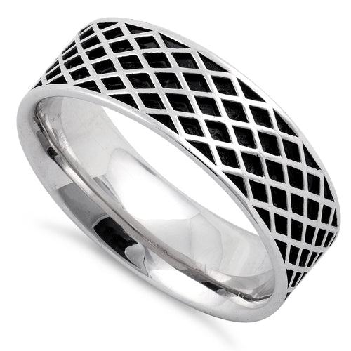 Sterling Silver Diamond Line Pattern Ring