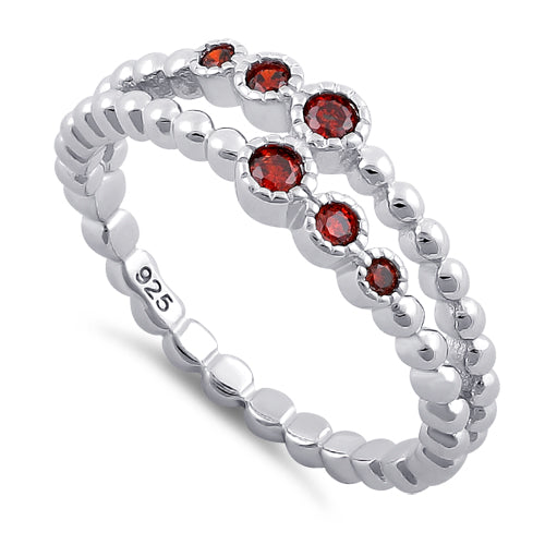 Sterling Silver Double Beaded Garnet CZ Ring
