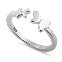 Sterling Silver Double Butterfly Adjustable Ring
