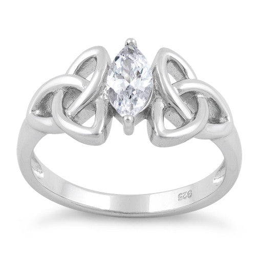Sterling Silver Double Charmed Marquise CZ Ring