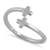 Sterling Silver End to End Cross Ring