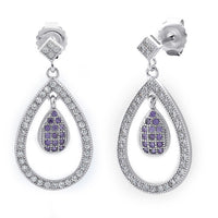 Sterling Silver Double Drop Amethyst CZ Dangle Earrings