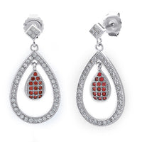 Sterling Silver Double Drop Garnet CZ Dangle Earrings