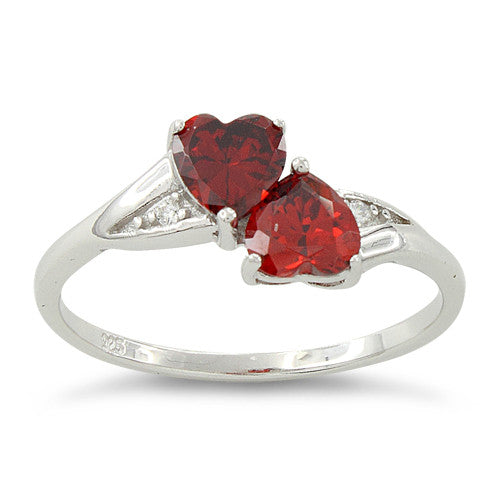 Sterling Silver Double Heart Garnet CZ Ring