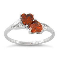 Sterling Silver Orange CZ Heart Ring