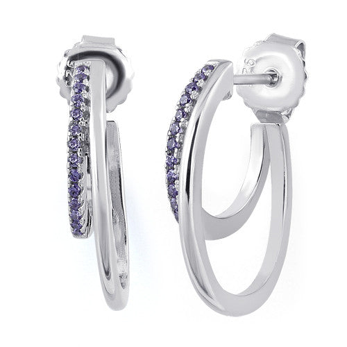 Sterling Silver Double Hoop Amethyst CZ Earrings
