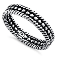 Sterling Silver Double Rope Bead Ring