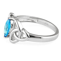Sterling Silver Double Triquetra Charmed Marquise Blue Topaz CZ Ring