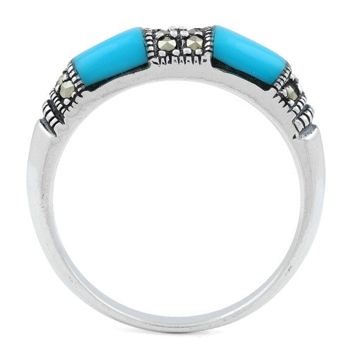 Sterling Silver Double Simulated Turquoise  Onyx Marcasite Ring