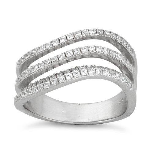 Sterling Silver Double Wave Pave CZ Ring