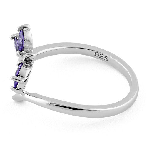 Sterling Silver Dragonfly Amethyst CZ Ring
