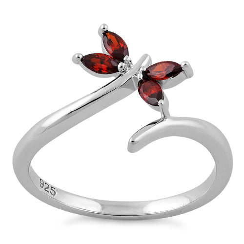 Sterling Silver Dragonfly Dark Garnet CZ Ring