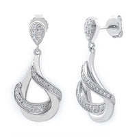 Sterling Silver Drop CZ Dangle Earrings
