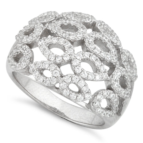 Sterling Silver Drops Pave CZ Ring