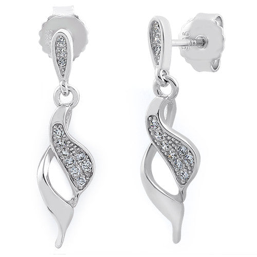 6b31d3844 Sterling Silver Elegant CZ Dangle Earrings