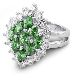 Sterling Silver Elegant Emerald Marquise Cut CZ Ring