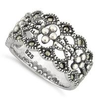 Sterling Silver Elegant Flower Marcasite Ring