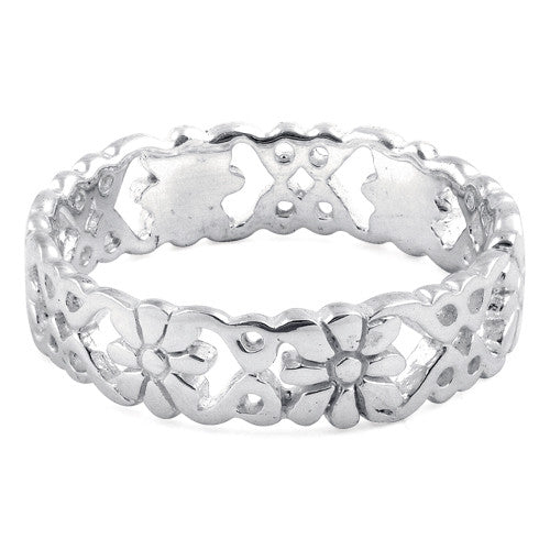 Sterling Silver Elegant Flower Ring