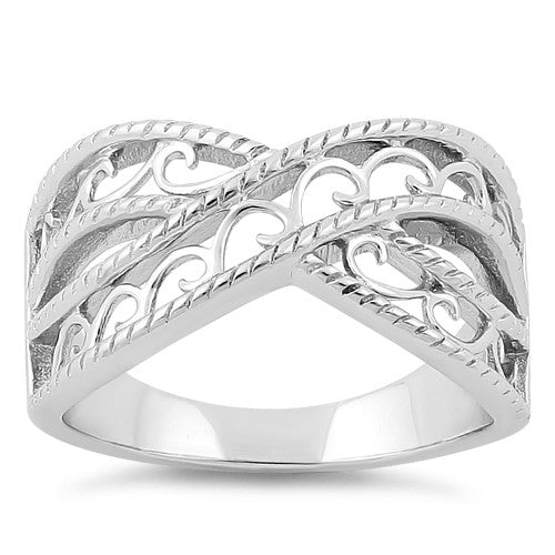 Sterling Silver Elegant Overlapping Waves Ring
