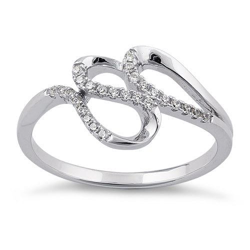 Sterling Silver Elegant Wave Round Clear CZ Ring