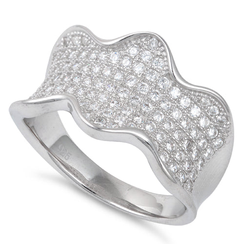 Sterling Silver Elegant Wavy Pave CZ Ring