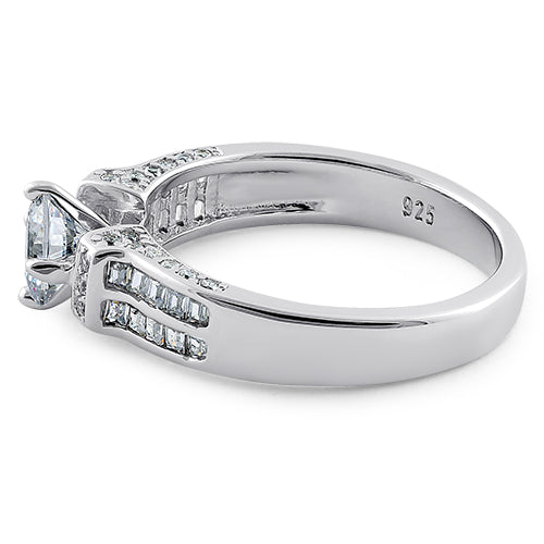 Sterling Silver Eloquent Round & Emerald Cut Clear CZ Engagement Ring