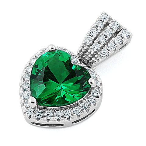 Sterling Silver Emerald Big Heart CZ Pendant