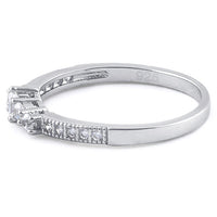 Sterling Silver Emerald Cut Clear CZ Ring