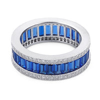 Sterling Silver Emerald Cut Eternity Pave Blue CZ Ring