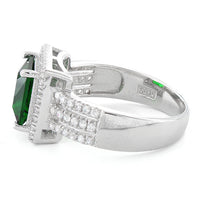 Sterling Silver Emerald Princess Cut CZ Ring