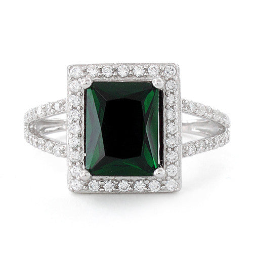 Sterling Silver Emerald Rectangular Halo CZ Ring