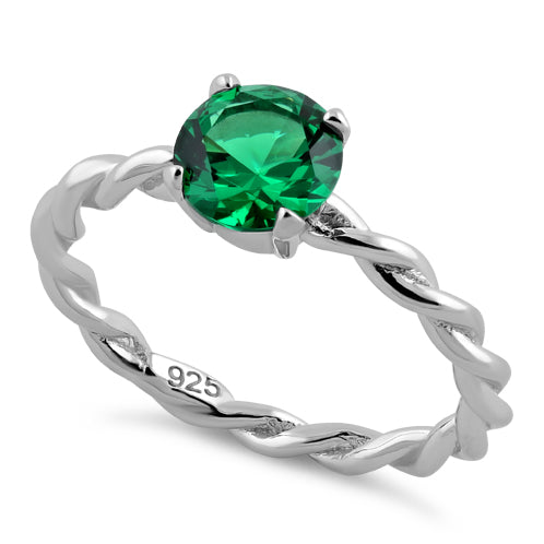 Sterling Silver Emerald Twisted Band CZ Ring