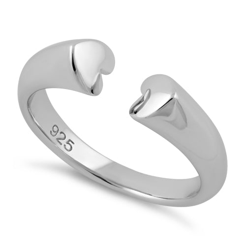 Sterling Silver End to End Heart Ring
