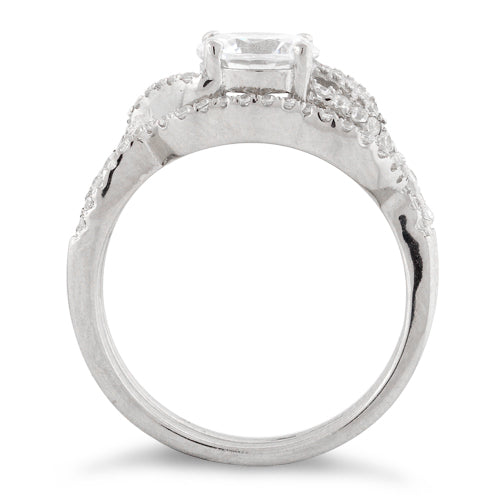 Sterling Silver Engagement Abstract CZ Set Ring
