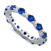 Sterling Silver Eternity Blue Spinel CZ Ring