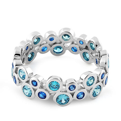 Sterling Silver Eternity Bubbles Aqua Blue Spinel CZ Ring