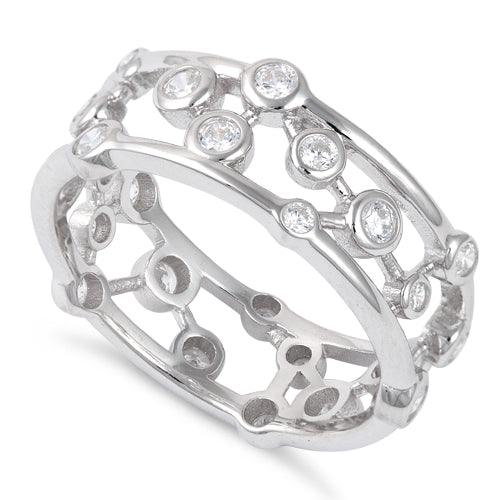 Sterling Silver Eternity Bubbles CZ Ring